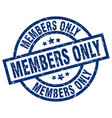 members only blue round grunge stamp vector image vector image