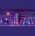 modern city night landscape neon cartoon vector image vector image