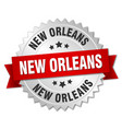 new orleans round silver badge with red ribbon vector image vector image
