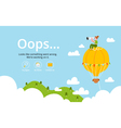 Oops error page with hot air balloon vector image vector image