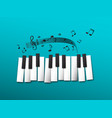 piano keys music notes on blue background vector image vector image