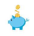 piggy bank - pig with coins isolated vector image