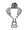 pixelated trophy with coin game award vector image