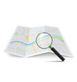 realistic magnifying glass and map magnification vector image vector image