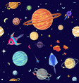 seamless pattern planets in open space vector image vector image