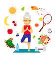 senior woman healthy lifestyle vector image vector image