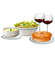 Set menu with food and wine vector image vector image