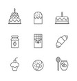 set simple delicious sweet food icon in trendy vector image