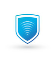 shield icon wifi sign protectoin sign flat design vector image vector image