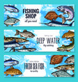 sketch banners of fish for fishing shop vector image vector image