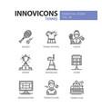 tennis - modern line design icons set vector image vector image