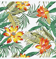 tropical foliage flowers seamless white background vector image vector image
