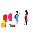 two beautiful girls after shopping in boutiques vector image