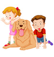 Two kids with their pet dog vector image vector image