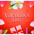 Valentines day background holidays gift and heart vector image vector image