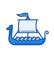 viking ship line icon vector image vector image