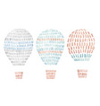 watercolor set with air baalloons in cute