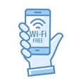 Wi-Fi free icon Wi-Fi zone icon with phone in vector image vector image