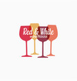 wine glass logo red and white wine banner vector image vector image