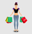 woman in jeance and top holding colored shopping vector image