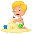Cartoon boy making sand castle vector image