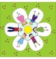 happy children holding hands vector image