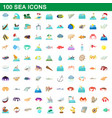 100 sea icons set cartoon style vector image