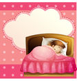 A girl sleeping in her bedroom soundly with an vector image vector image