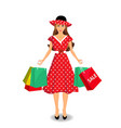 beautiful woman in red dress and hat holding vector image