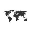 black color world map isolated on white background vector image vector image