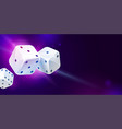 blue background with three white game dices poker vector image vector image