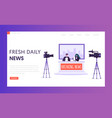 breaking news program concept landing page live vector image vector image