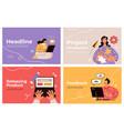 business people making internet activity slide vector image vector image