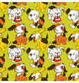 cartoon puppies seamless pattern vector image vector image