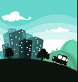 cartoon town travel with building and car vector image vector image