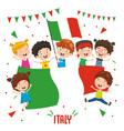 Children holding italy flag