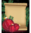 Christmas decorations and ancient manuscript vector image vector image