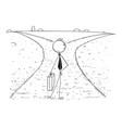 conceptual cartoon of business man on crossroad vector image