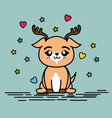 cute and lovely deer animal cartoon vector image