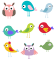 cute bird cartoon set vector image vector image