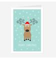 Cute cartoon deer with curly horns red santa hat vector image