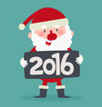 Cute Santa Holding a 2016 New Year Sign vector image