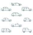 dark outline various body types of cars icons vector image vector image