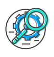data stream icon with magnifier and gear sign vector image