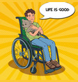disable handicapped boy in wheelchair pop art vector image