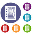 document with plan and pen icons set vector image vector image
