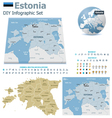 Estonia maps with markers vector image vector image
