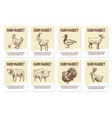 farm animals labels tags for shops vector image