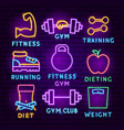 fitness neon label set vector image vector image
