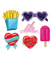 french fries and glasses and hearts and popsicles vector image